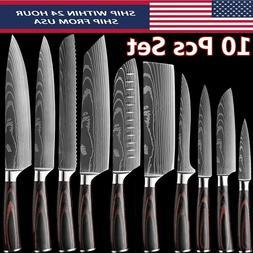 10 Pcs Kitchen Knife Set Japanese Damascus Pattern Stainless