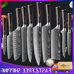 10 Pcs Japanese Kitchen Knives Set Damascus Pattern Stainles