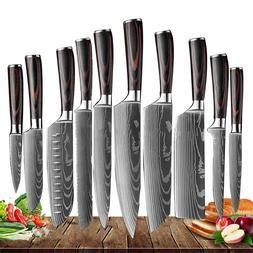 10 Piece Kitchen Knive Set Japanese Damascus Style Stainless