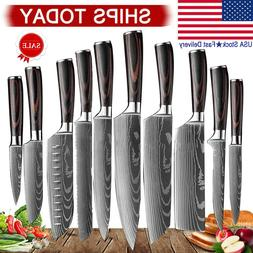 10Pcs Kitchen Knives Set High Carbon Steel Damascus Style Pr