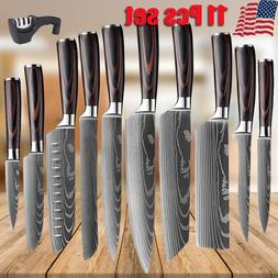 11 PCS Kitchen Knives Set Stainless Steel Japanese Damascus