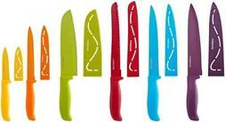 12-Piece Non-Stick Colorful Safety Kitchen Knives Cutlery Kn