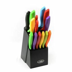 Oster 14pc Vibrant Multi-Color Kitchen Knives Cutlery Set w