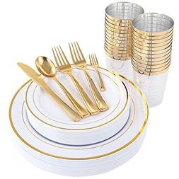 WDF 25Guest Gold Plastic Plates with Gold Silverware,Disposa