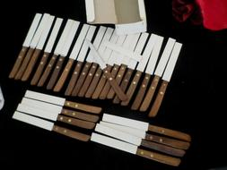 28 Wood Handle Stainless Serrated Kitchen Steak Knives Model