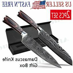 "2PCS SET 8"" Damascus Pattern Chef Knife Carbon Steel Wooden"