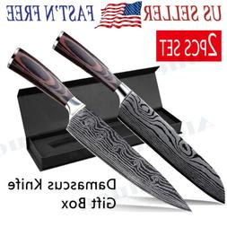 "2PCS SET 8"" Damascus Pattern Chef Knife Carbon Steel Wooden"