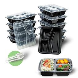 20 Pack 3 Compartment Meal Prep Containers with Lids - Inclu
