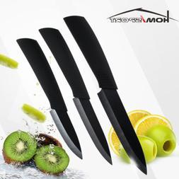"3PC Ceramic Kitchen Knife Set 3"" 4"" 5"" Chef Cooking Black No"