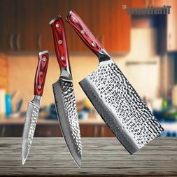 3Pcs Redwood Handle Japanese Damascus Kitchen Knife Set