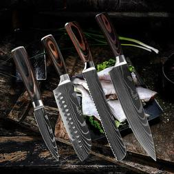 4 Pcs Kitchen Knives Set Japanese Damascus Pattern Stainless