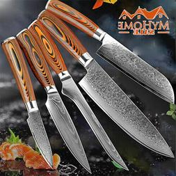 5 PCs Kitchen Knife Set Vg 10 Damascus Steel Chef Japanese K