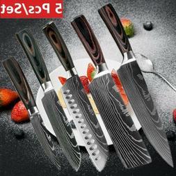 5 Pcs Kitchen Knives Set Japanese Damascus Style Stainless S