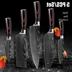 5 Piece Kitchen Knives Set Japanese Damascus Pattern Stainle
