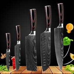 5 Piece Kitchen Chef Knife Set Damascus Pattern Stainless St