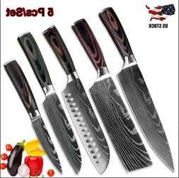 5 Piece Kitchen Knives Set Japanese Damascus Style Stainless