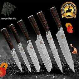 6 PCs Kitchen Knife Set Damascus Pattern Chef Stainless Stee