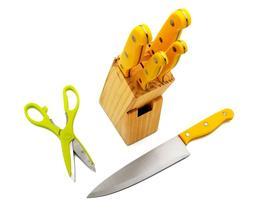 7 Pieces Kitchen Knife Set, 5 Knives, 1 Scissor, 1 Wooden Bl