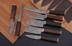 """7""""pieces HAND FORGED DAMASCUS STEEL CHEF KNIFE KITCHEN Kni"""