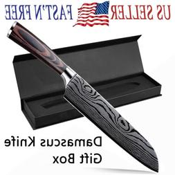 "8"" Damascus Pattern Chef Knife Carbon Steel Wooden Handle Ki"