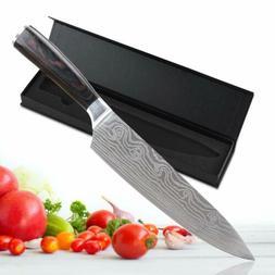 8 Inch Chef Knife Damascus Pattern Kitchen Slicing Cutter Kn