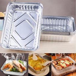 8Pcs/Set BBQ Aluminum Foil Trays Disposable Food Container P