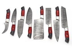 "8""pieces HAND FORGED DAMASCUS STEEL CHEF KNIFE KITCHEN Kni"