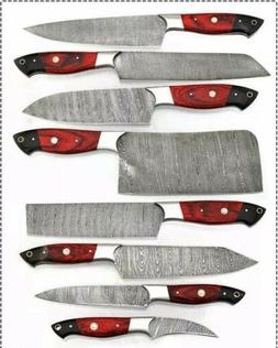"""8""""pieces HAND FORGED DAMASCUS STEEL CHEF KNIFE KITCHEN Kni"""