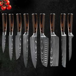 9 Pcs Kitchen Knives Set Damascus Pattern Stainless Steel Pr