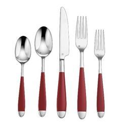 Cuisinart CFE-01-B20R 20-Piece Flatware Set, Beille, Red