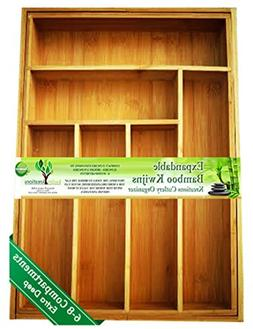 EXPANDABLE Bamboo Silverware Organizer 6-8 Slots Adjustable