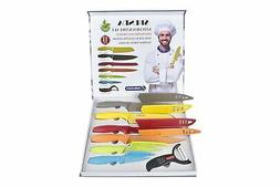 Kitchen Knife Set - Colorful 6 Premium Steel Knives with She