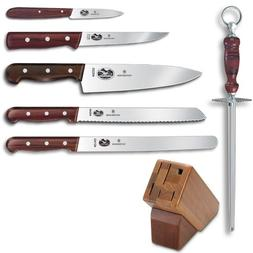 Victorinox 7-Piece Knife Set with Block, Rosewood Handles
