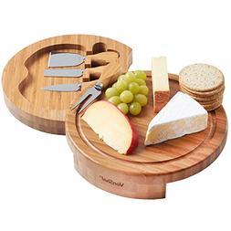 VonShef Round Slide Out Bamboo Wooden Cheese Board and 4 Pie