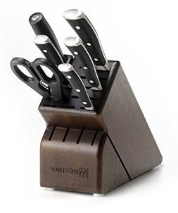 Wusthof Classic Ikon 7-Piece Walnut Block Knife Set, Black