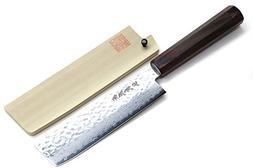 Yoshihiro NSW 46 Layers Hammered Damascus Usuba Vegetable Ch