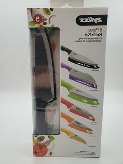 ZYLISS 6 Piece Kitchen Knife Set with Sheath Covers, Stainle