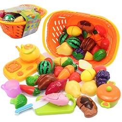 AMOSTING Pretend Food Toys Fun Kids Cutting Fruit Vegetables