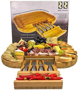 Solander Skelf Bamboo Cheese Board with Drawer & 4 Stainless