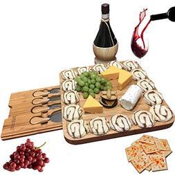 Bamboo Cheese Board w/Cutlery Set, Wood Charcuterie Platter