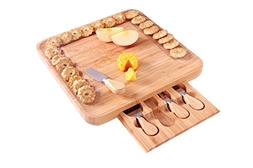 ISINO Bamboo Cheese Set with Hidden Slide-out Drawer and 4 P