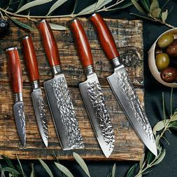 Best Chef knives set knife kitchen 5p Damascus With Santoku
