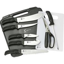 Elk Ridge ER-190 Big Game Cutlery Knife Kit with Case, Rubbe