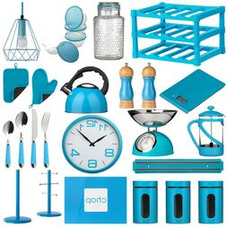 Blue Kitchen Accessories Storage Canisters Jars Kettle Clock