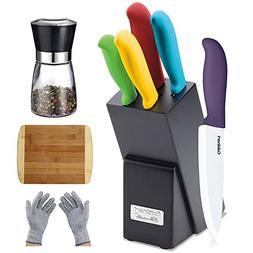 Cuisinart 6-Piece Ceramic Cutlery Knife Block Set, Multicolo
