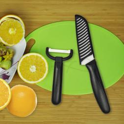 "Ceramic Kitchen knives Set 5"" Santoku White Blade + Peeler"