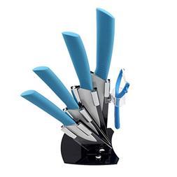 KISKISTONITE Ceramic Knife Set, 5-Piece Kitchen Cutlery Bloc