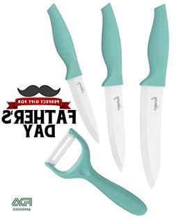 Ceramic Knives 4 pieces set. Professional knives and peeler