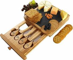 Utopia Kitchen Cheese Board and Knife Set - 5-Piece Set Incl