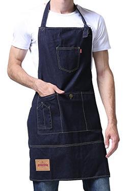 VANTOO Chef Apron for Men with Pockets - Denim Cooking Apron